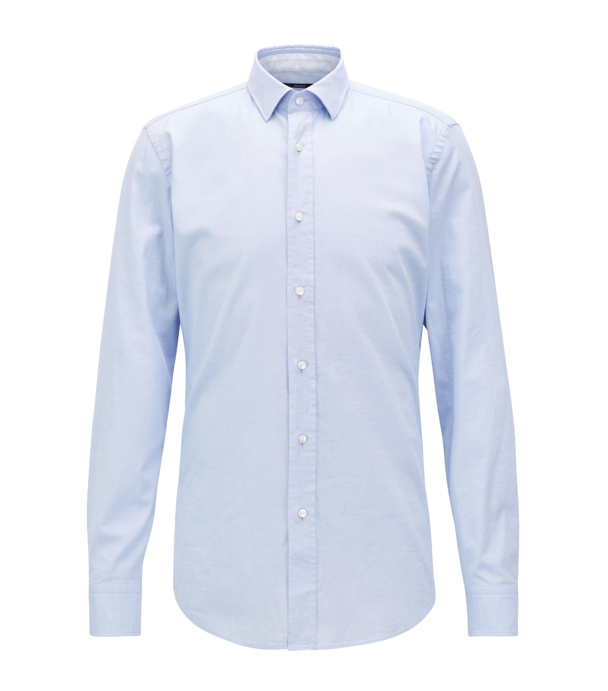 Chemise Slim Fit en coton stretch lavé à micromotif, Bleu vif