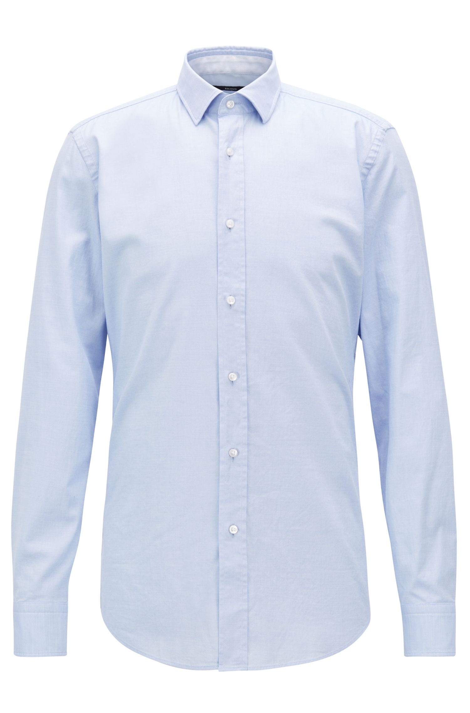 Micro-patterned slim-fit shirt in washed stretch cotton, Light Blue