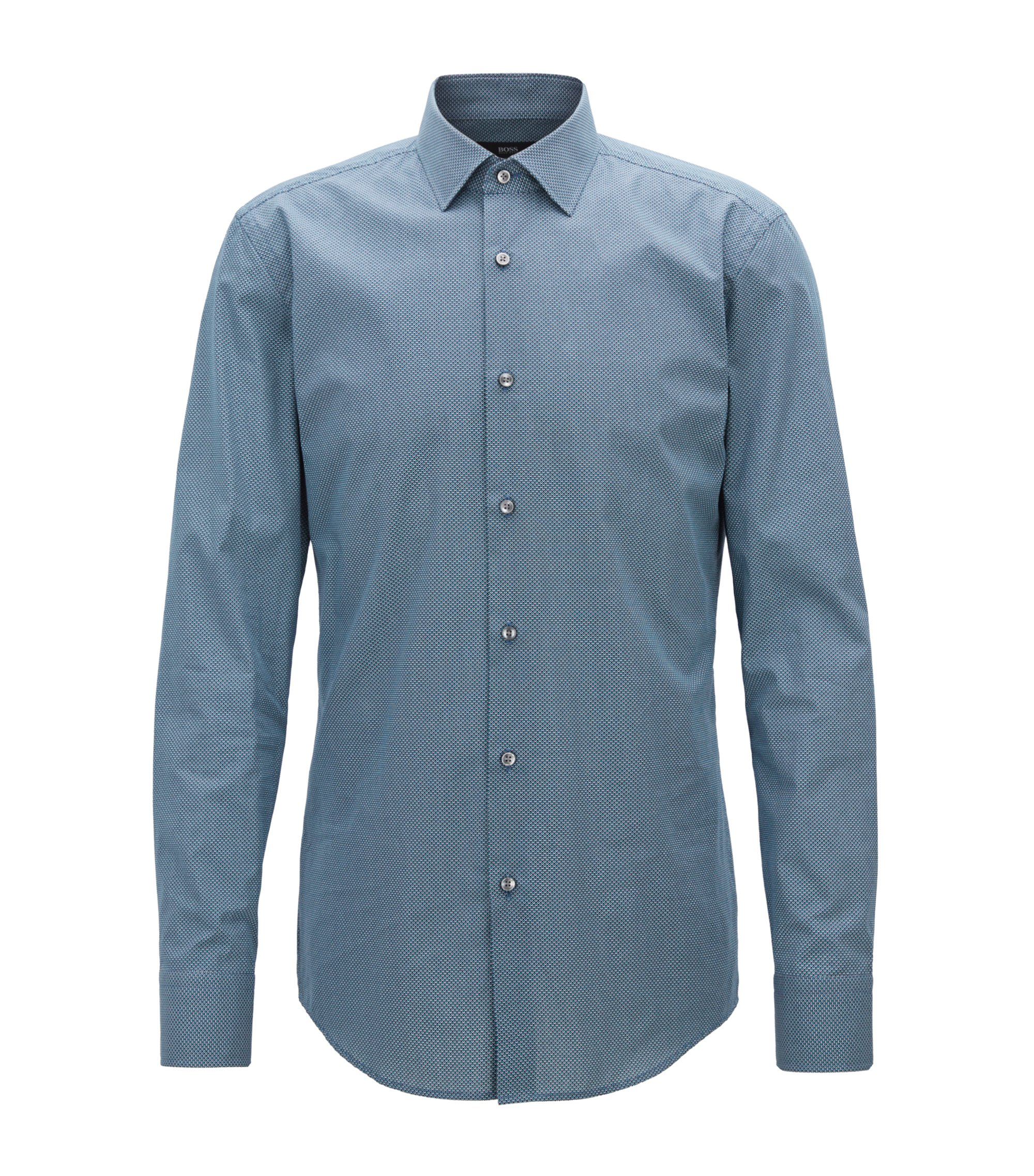 Slim-fit shirt in all-over-print Italian cotton, Green