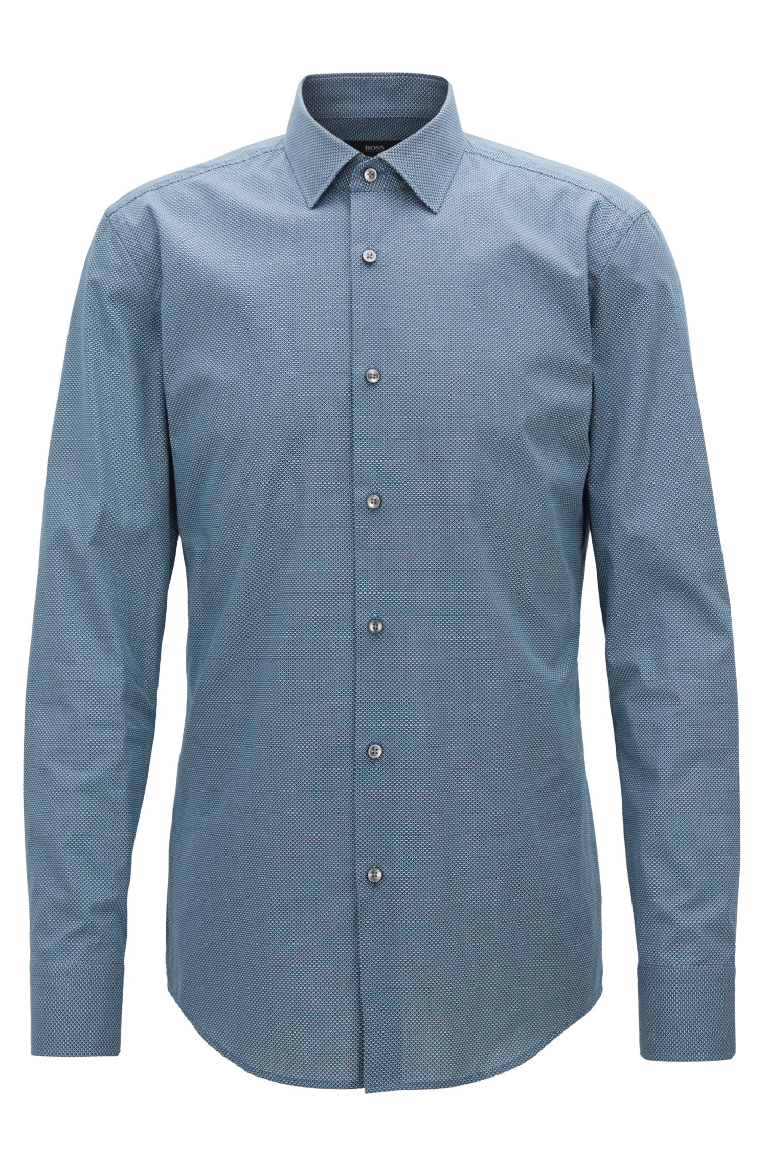 Slim-fit shirt in all-over-print Italian cotton BOSS