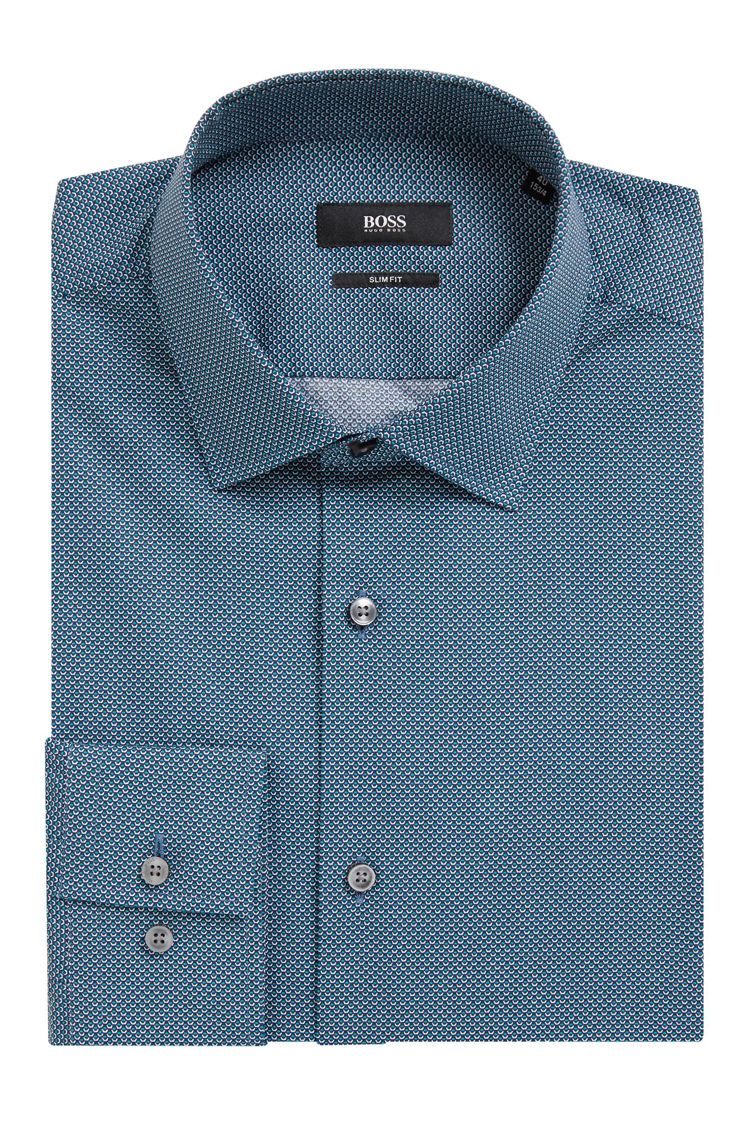 Hugo Boss - Slim-fit shirt in all-over-print Italian cotton - 4