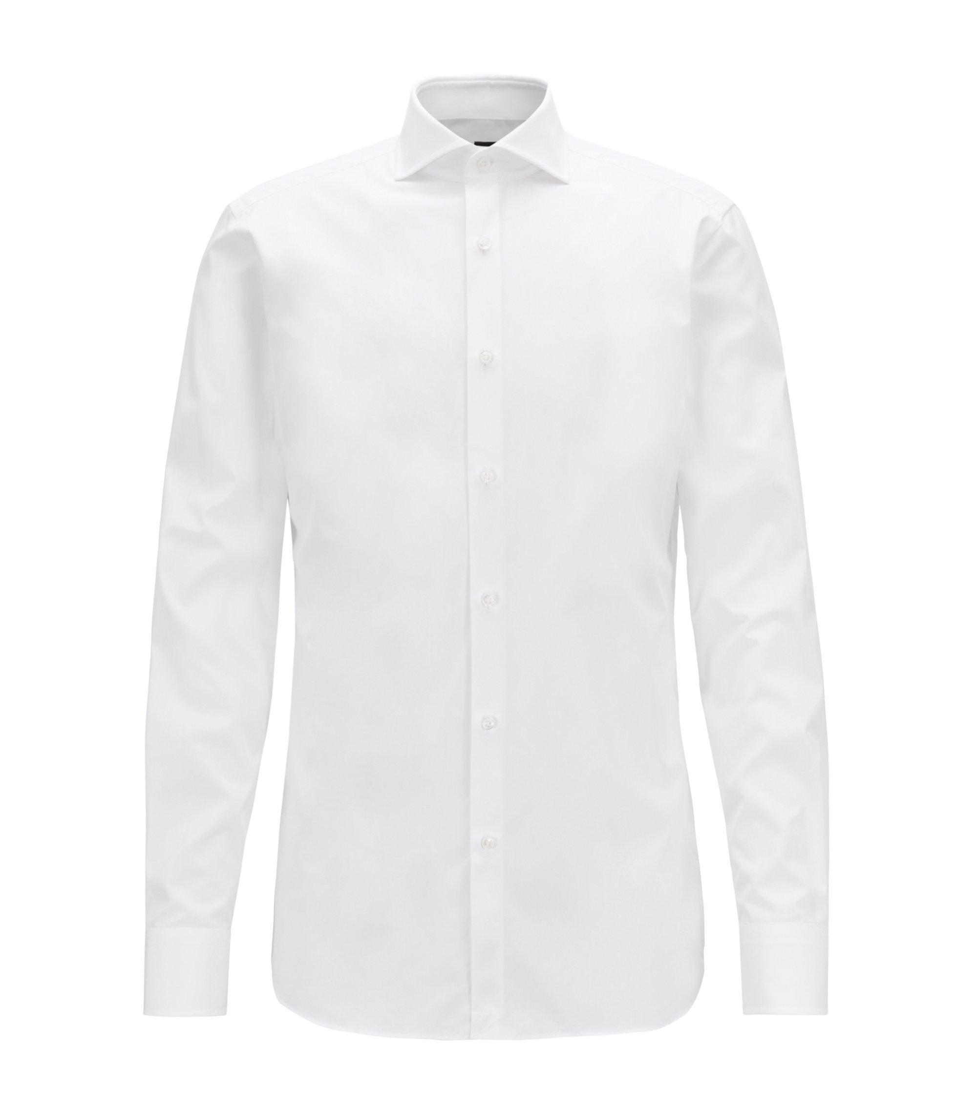Chemise Slim Fit en popeline de coton italien double retors, Blanc