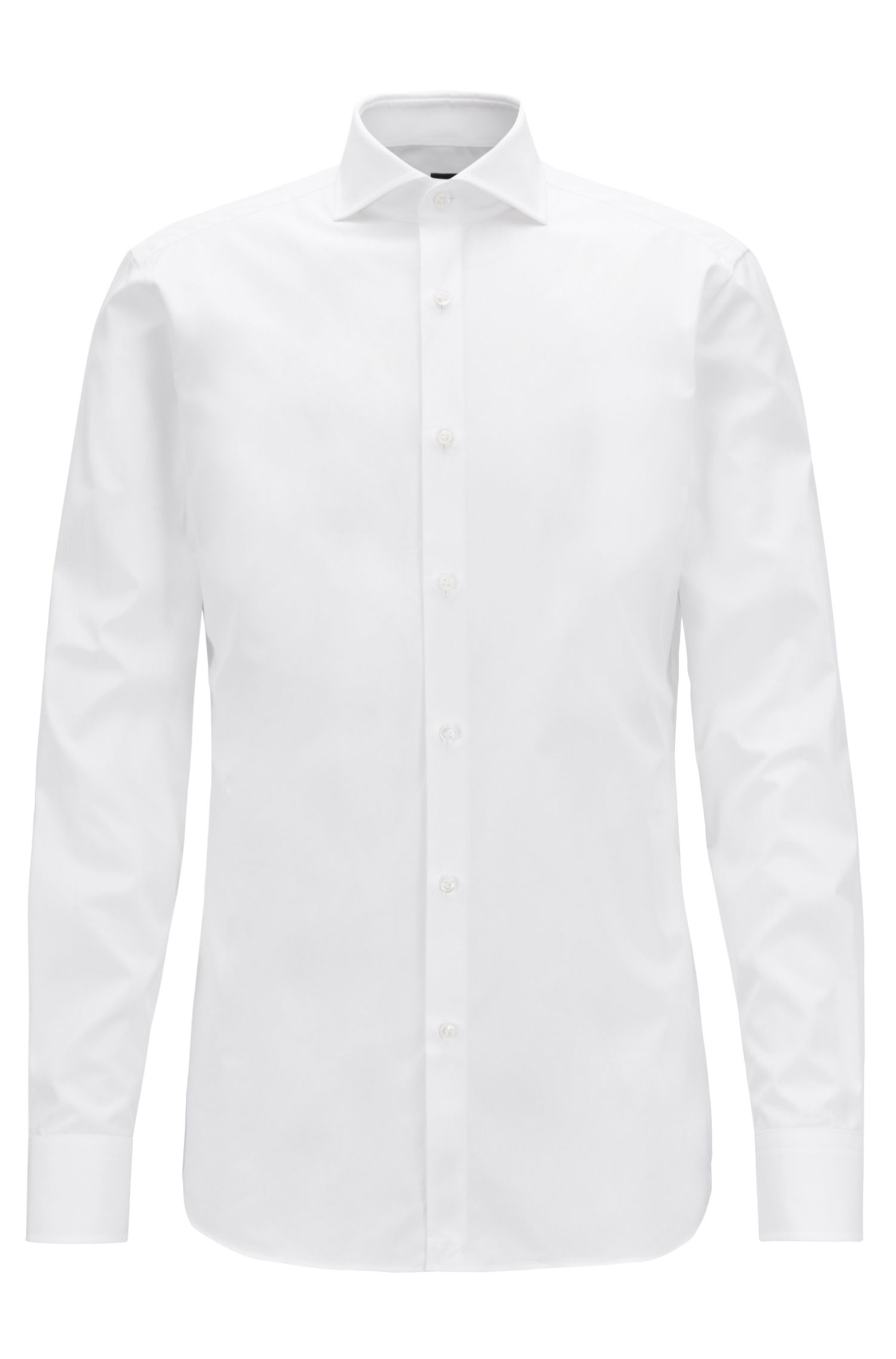 Slim-fit shirt in two-ply Italian cotton poplin, White
