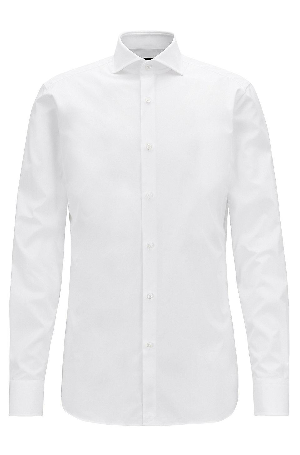 9c873e448 BOSS - Slim-fit shirt in two-ply Italian cotton poplin