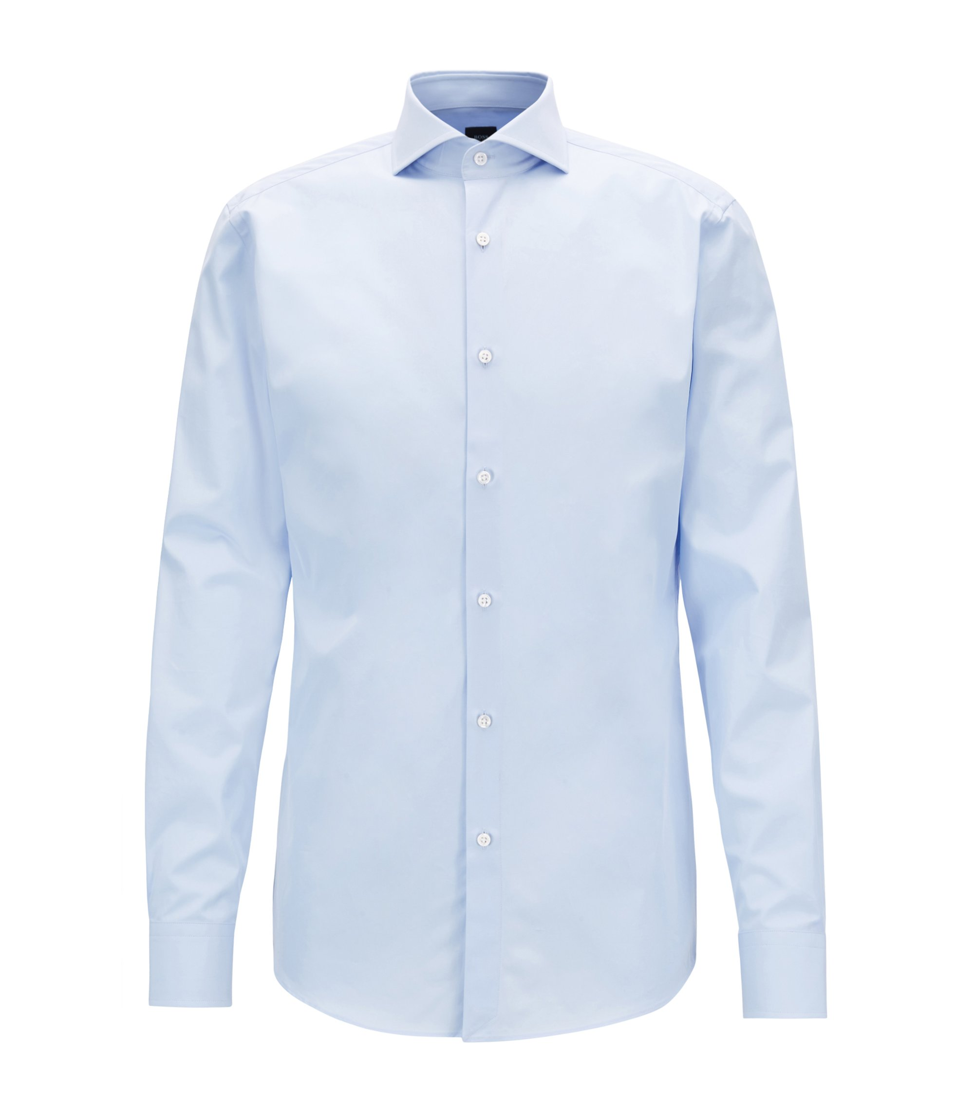 Slim-fit shirt in two-ply Italian cotton poplin, Light Blue