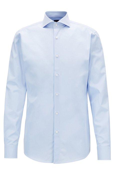 Slim-fit shirt in two-ply Italian cotton poplin, Light Blue