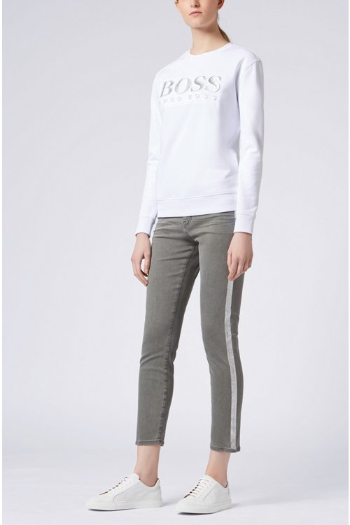 Hugo Boss - Slim-fit grey jeans with silver foil-print detail - 2