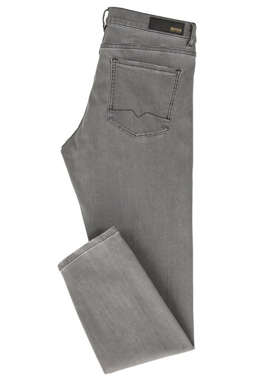 Hugo Boss - Slim-fit grey jeans with silver foil-print detail - 3