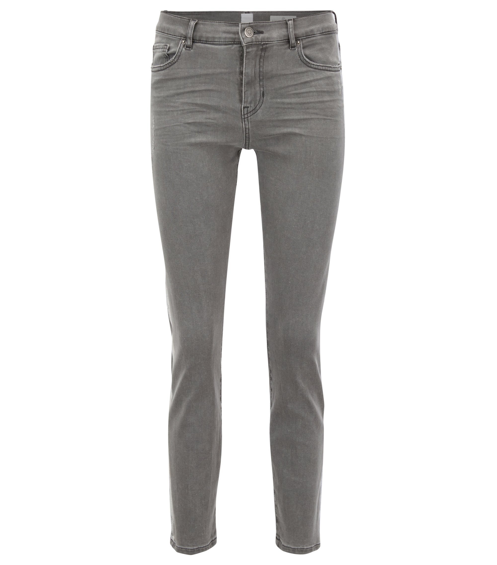Slim-fit grey jeans with silver foil-print detail, Grey