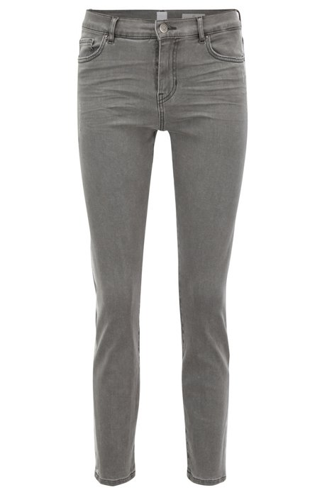 Slim-fit grey jeans with silver foil-print detail BOSS mbKSVv6g