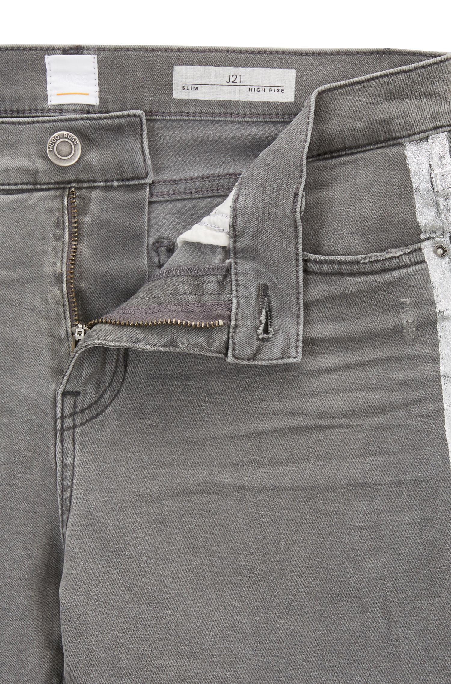 Slim-fit grey jeans with silver foil-print detail