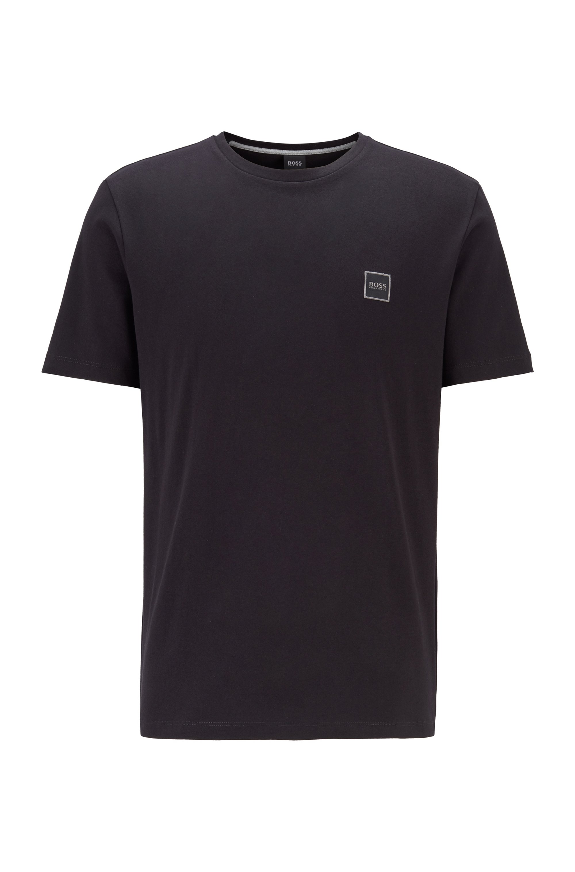 T-Shirt aus Baumwoll-Jersey mit Rundhalsausschnitt, Schwarz