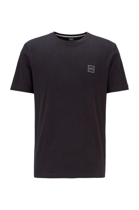 Camiseta de cuello redondo en punto sencillo de algodón, Negro