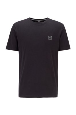 Crew-neck T-shirt in single-jersey cotton, Black