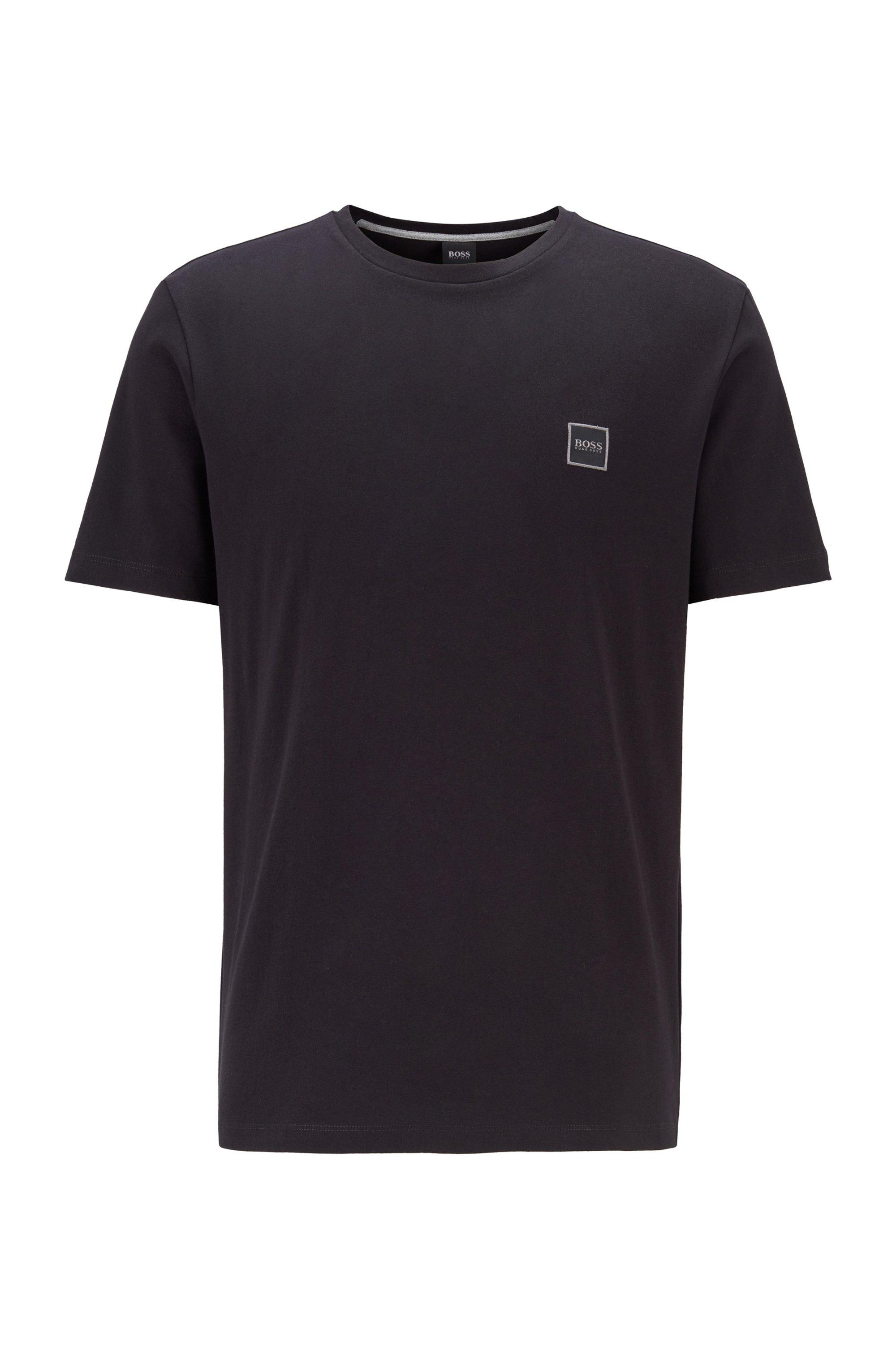 シングルジャージーコットン素材のクルーネックのTシャツ, ブラック