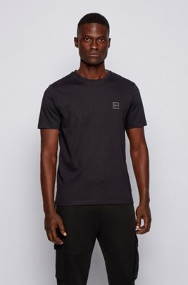 T-shirt à col ras-du-cou en jersey simple de coton, Noir