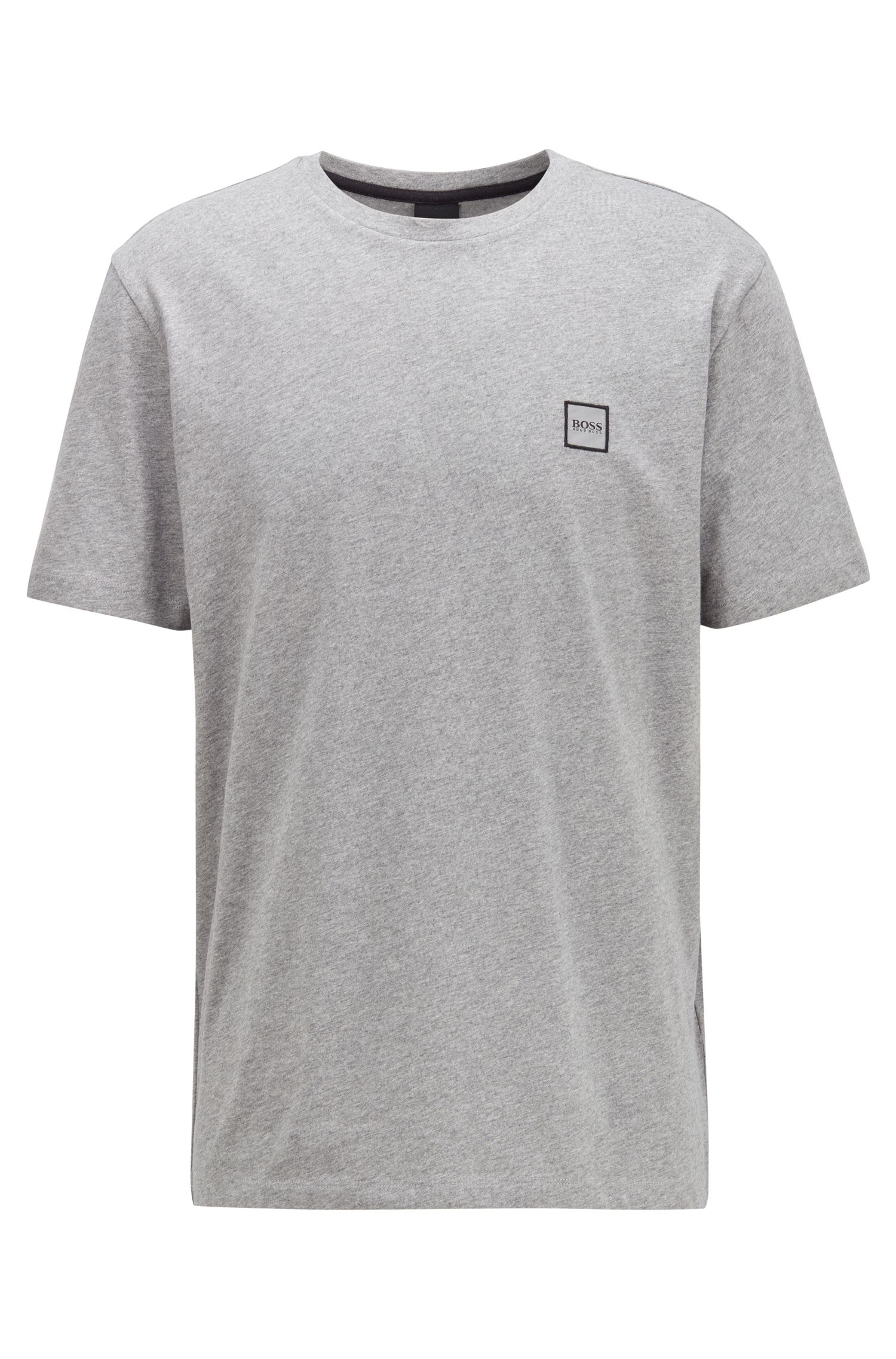 Crew-neck T-shirt in single-jersey cotton, Light Grey
