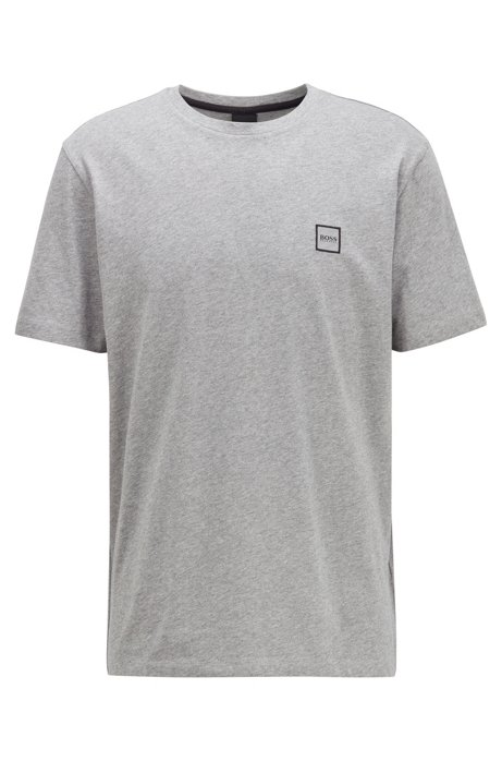 T-Shirt aus Baumwoll-Jersey mit Rundhalsausschnitt, Hellgrau