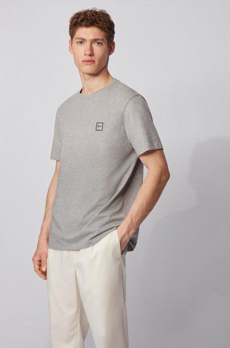 Crew-neck T-shirt in single-jersey cotton, Light Grey