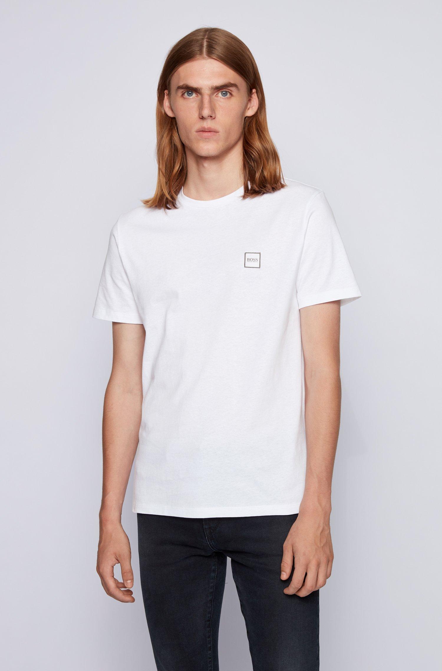T-Shirt aus Baumwoll-Jersey mit Rundhalsausschnitt, Weiß