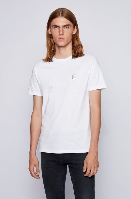 Crew-neck T-shirt in single-jersey cotton, White
