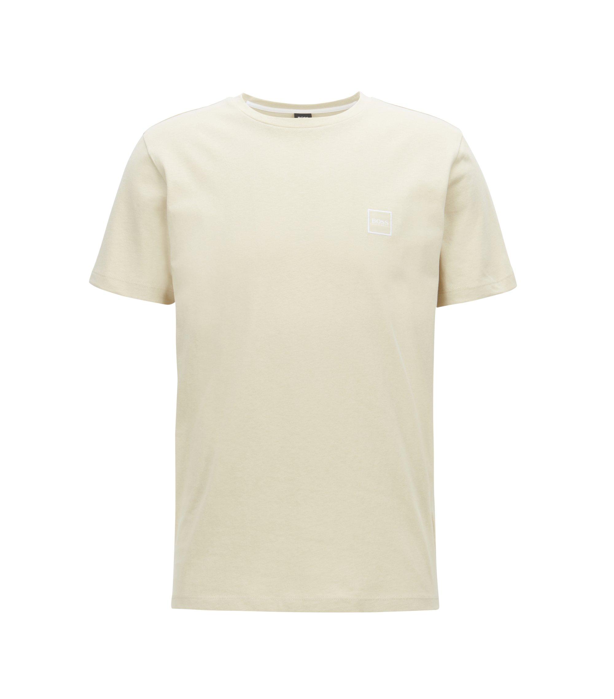 T-shirt van katoenen singlejersey met ronde hals, Beige