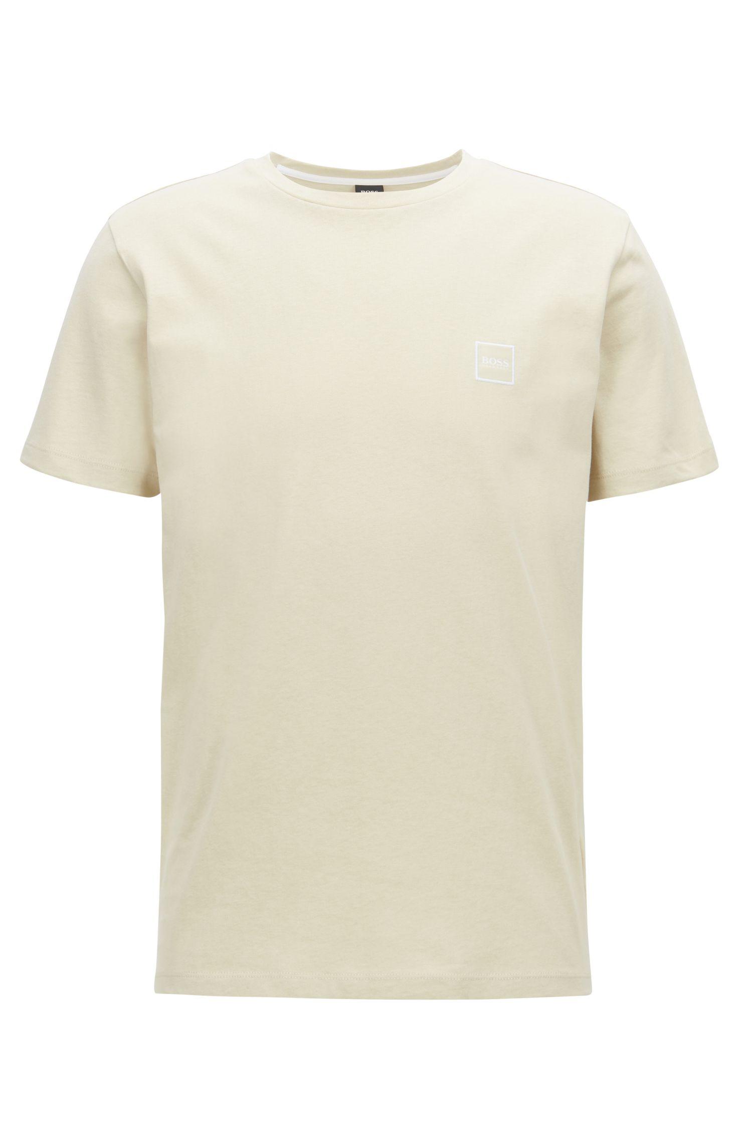 T-shirt a girocollo in jersey di cotone, Beige