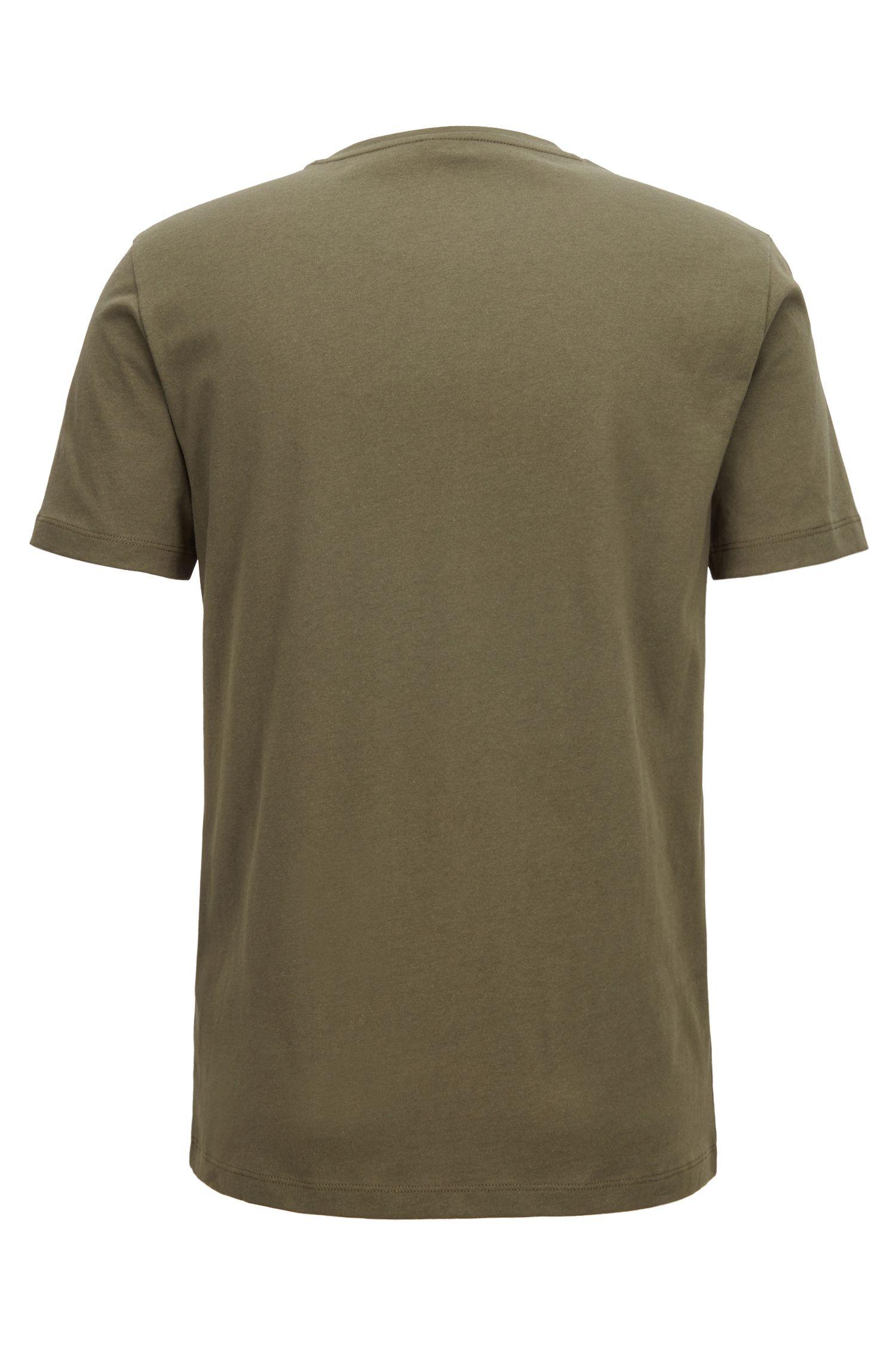 T-Shirt aus Baumwoll-Jersey mit Rundhalsausschnitt, Dunkelgrün