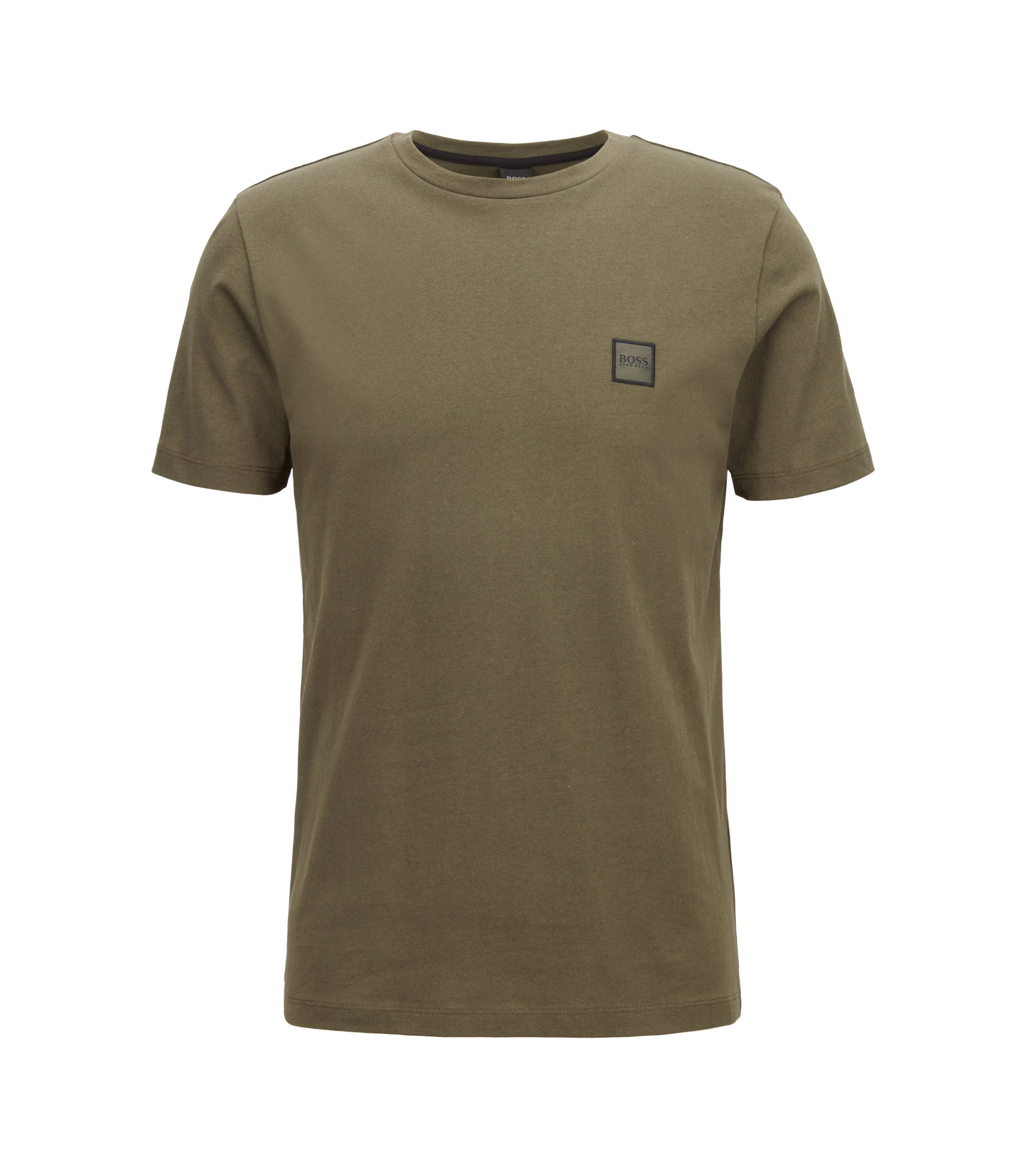T-shirt à col ras-du-cou en jersey simple de coton, Vert sombre