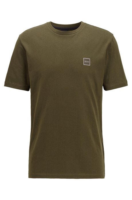 Crew-neck T-shirt in single-jersey cotton, Open Green