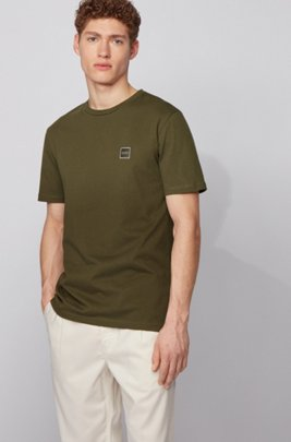 Crew-neck T-shirt in single-jersey cotton, Light Green