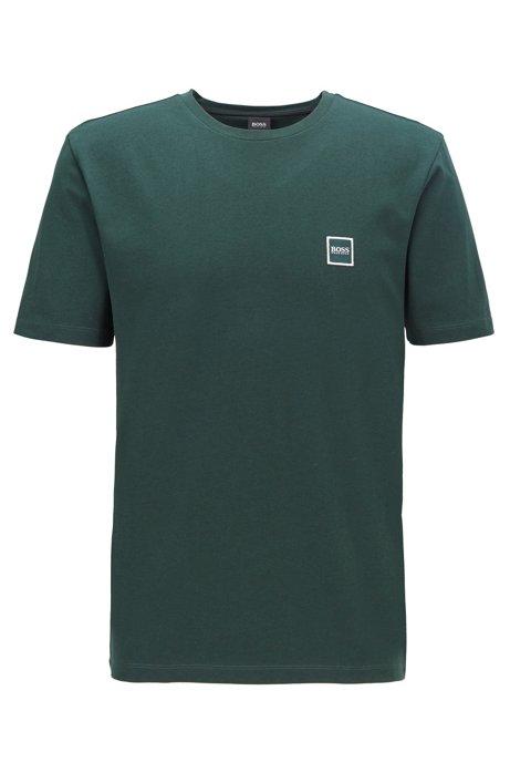 T-shirt à col ras-du-cou en jersey simple de coton, Vert