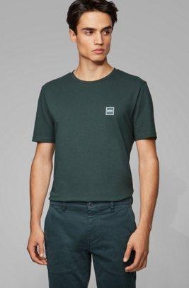 Camiseta de cuello redondo en punto sencillo de algodón, Verde
