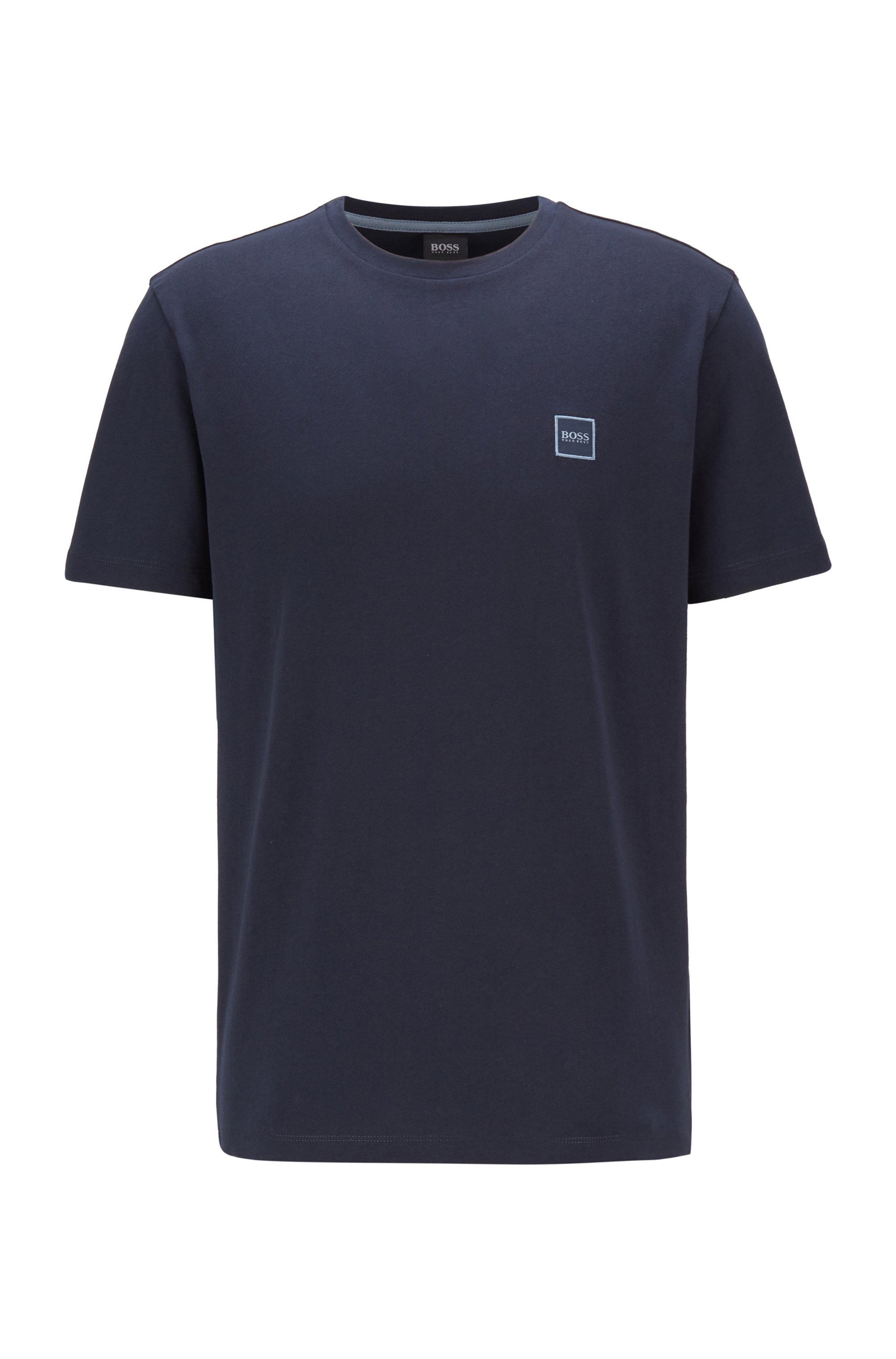 T-Shirt aus Baumwoll-Jersey mit Rundhalsausschnitt, Dunkelblau