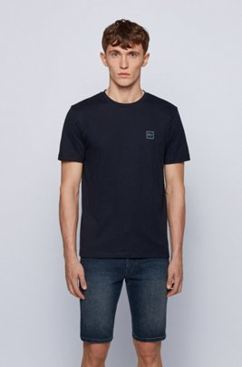 Crew-neck T-shirt in single-jersey cotton, Dark Blue