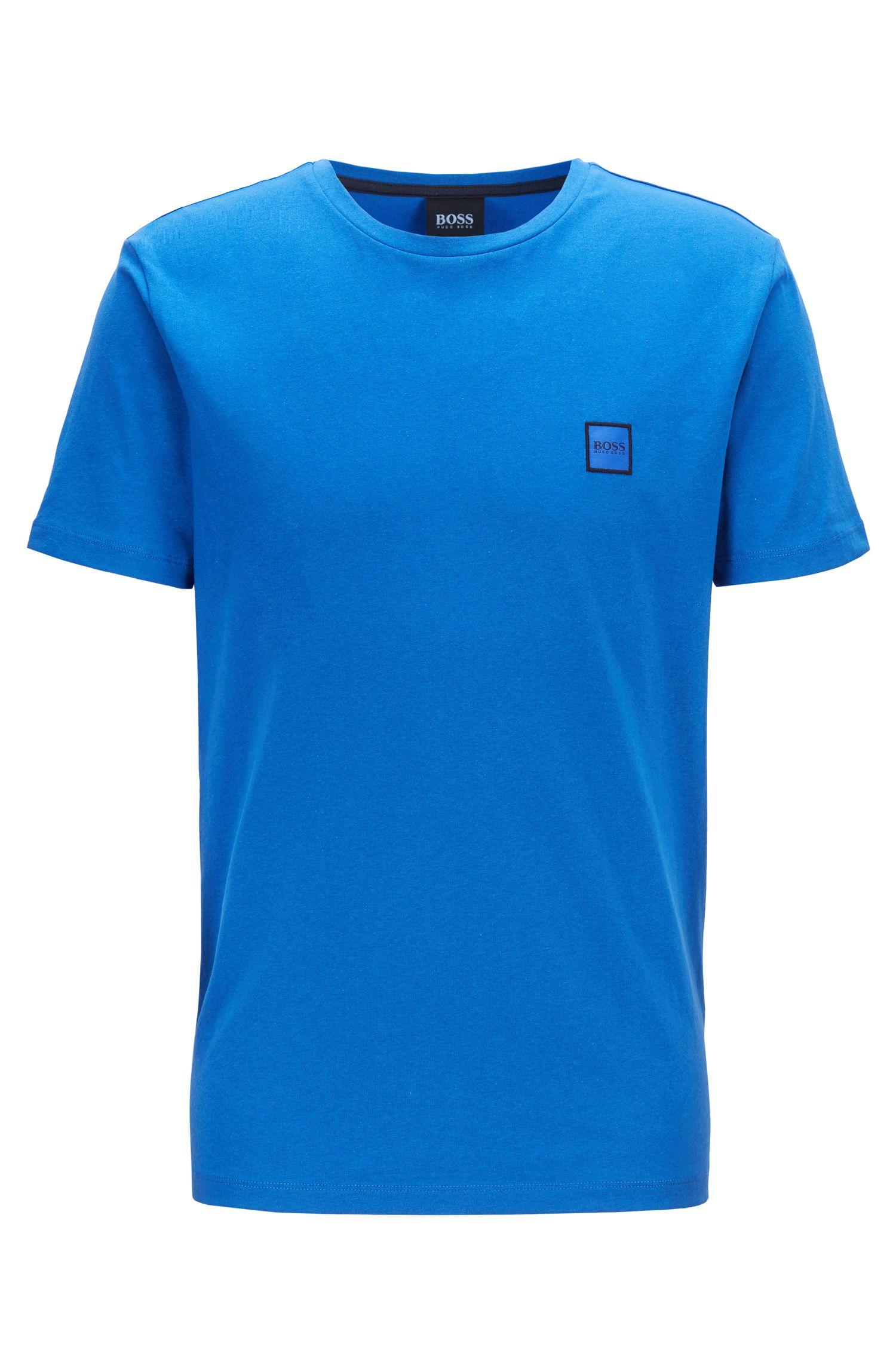 T-shirt à col ras-du-cou en jersey simple de coton, Bleu