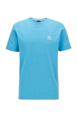 Crew-neck T-shirt in single-jersey cotton, Turquoise