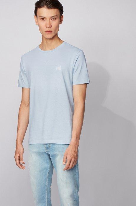 Camiseta de cuello redondo en punto sencillo de algodón, Celeste