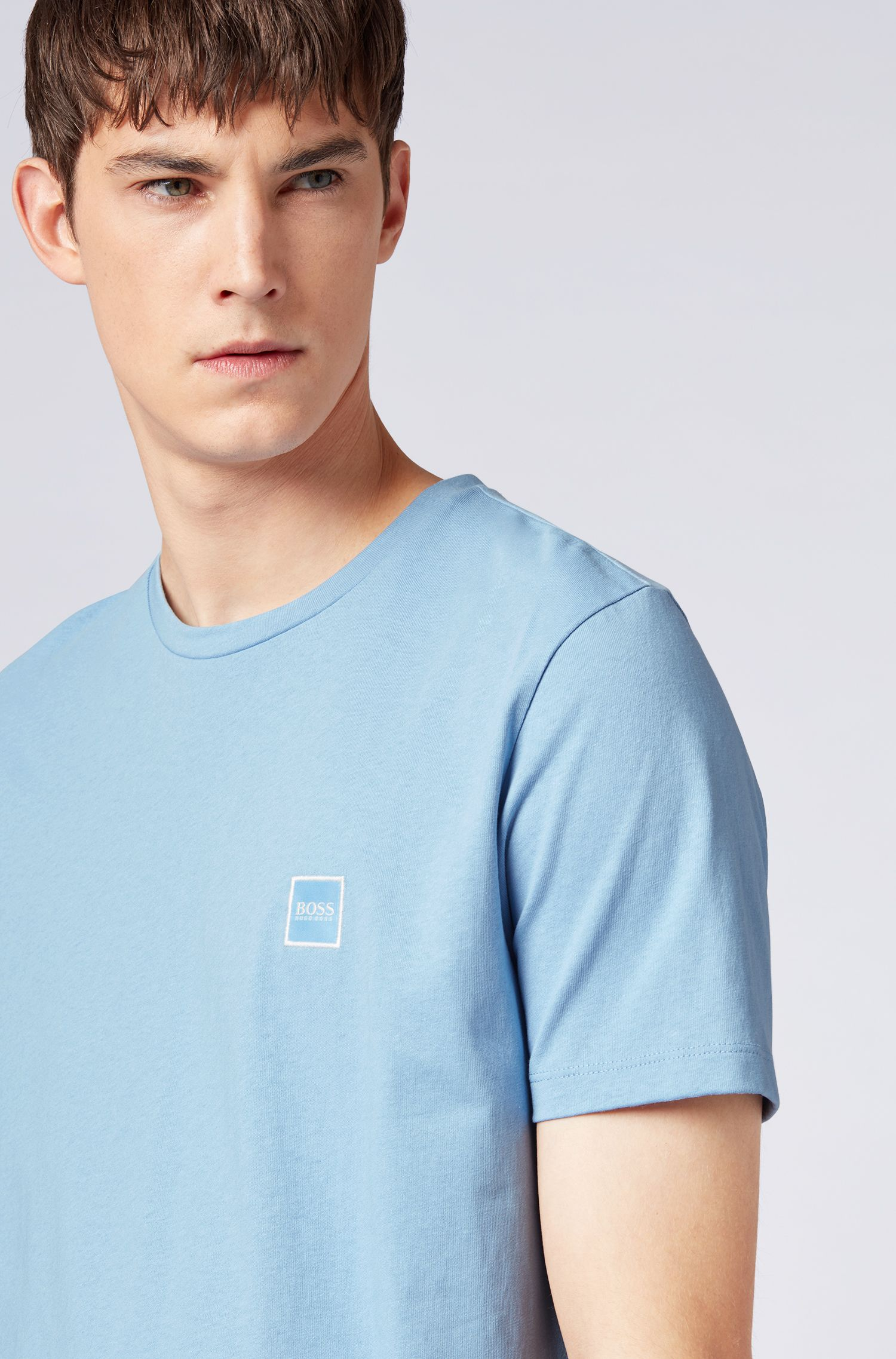 Crew-neck T-shirt in single-jersey cotton, Light Blue