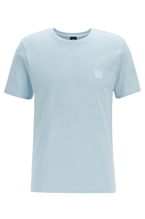 T-shirt à col ras-du-cou en jersey simple de coton, Bleu vif