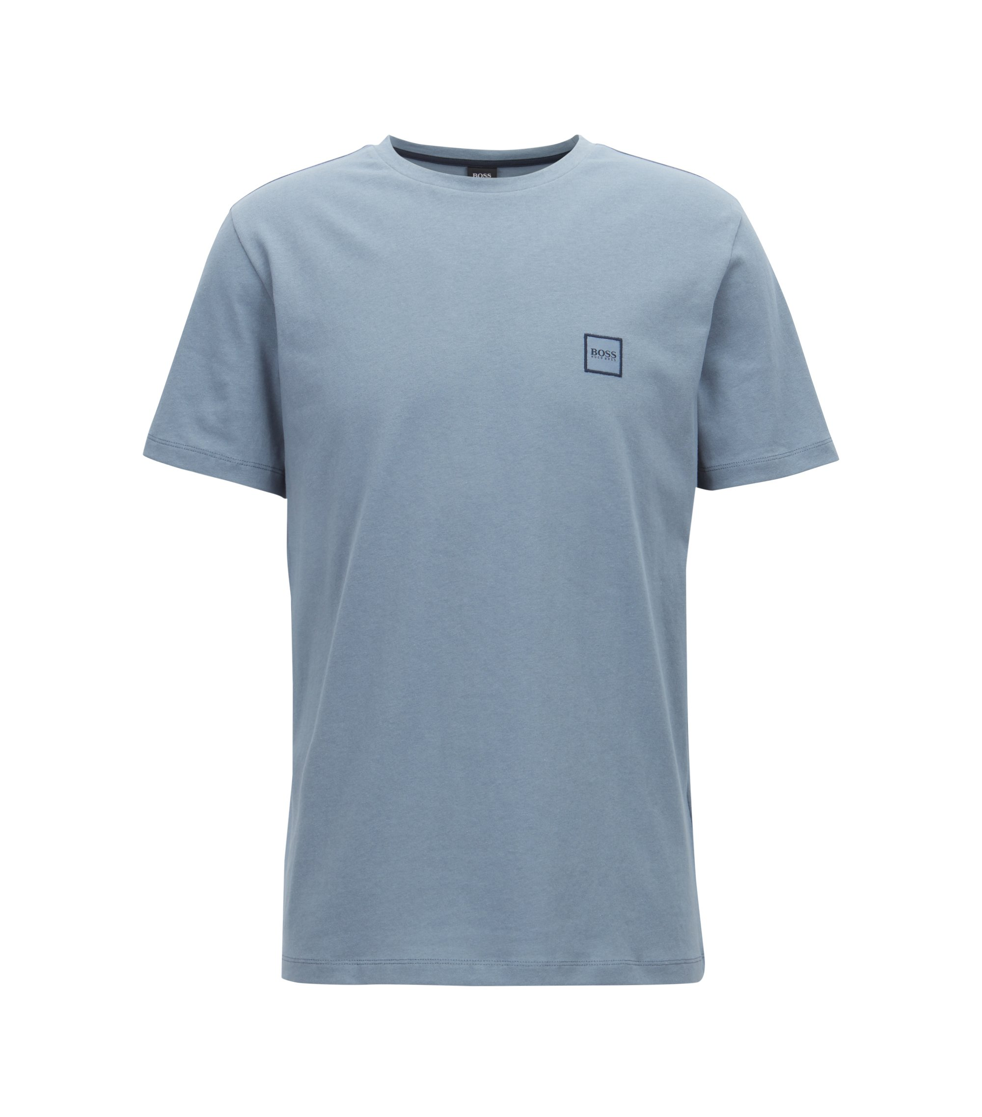 Crew-neck T-shirt in single-jersey cotton, Blue