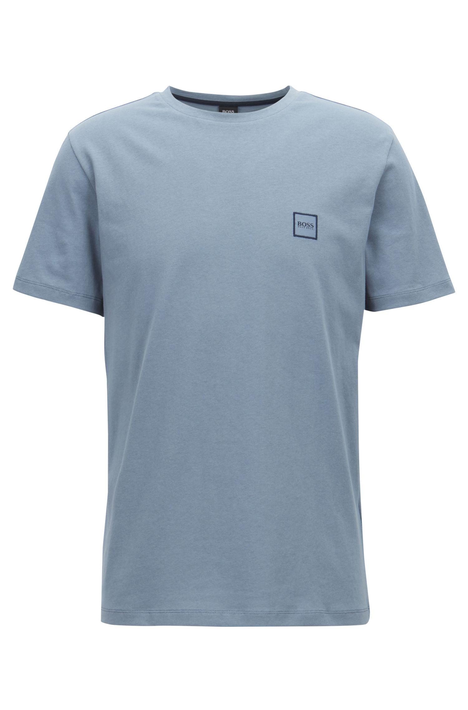 T-Shirt aus Baumwoll-Jersey mit Rundhalsausschnitt, Blau