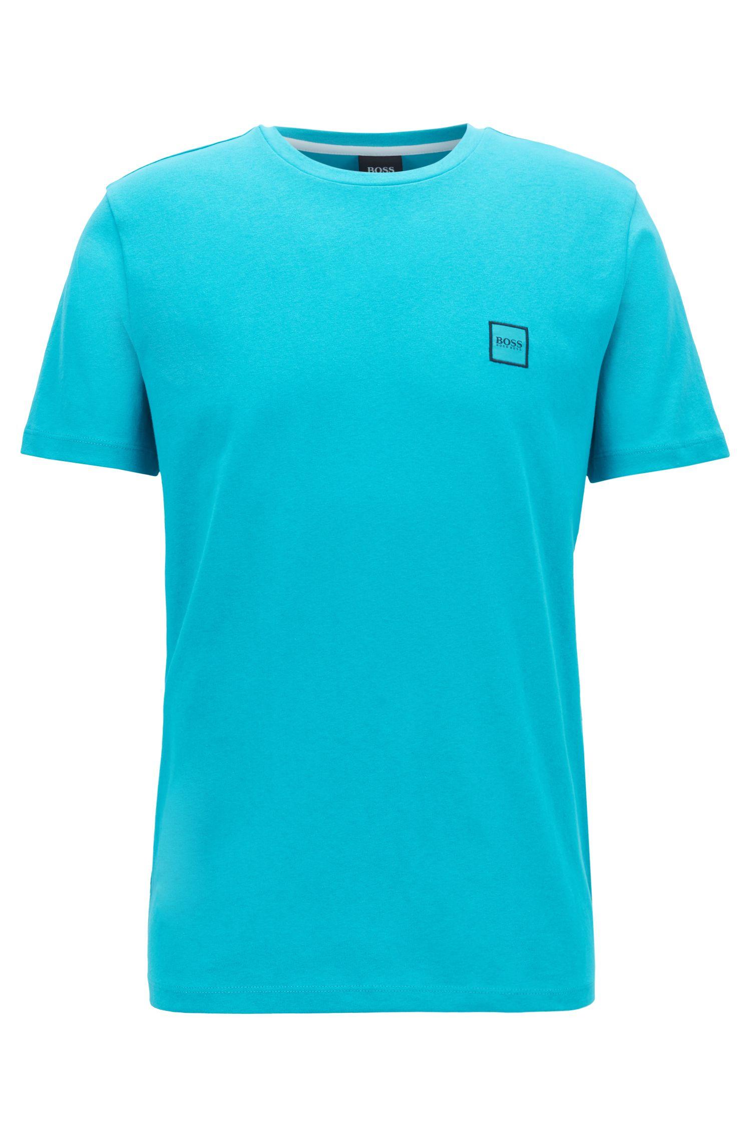 T-shirt van katoenen singlejersey met ronde hals, Turkoois