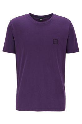 T-shirt à col ras-du-cou en jersey simple de coton, Violet foncé