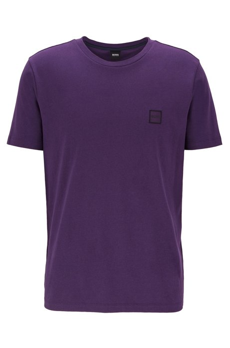 Crew-neck T-shirt in single-jersey cotton, Dark Purple