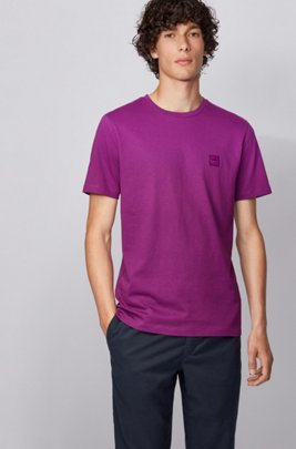Crew-neck T-shirt in single-jersey cotton, Purple
