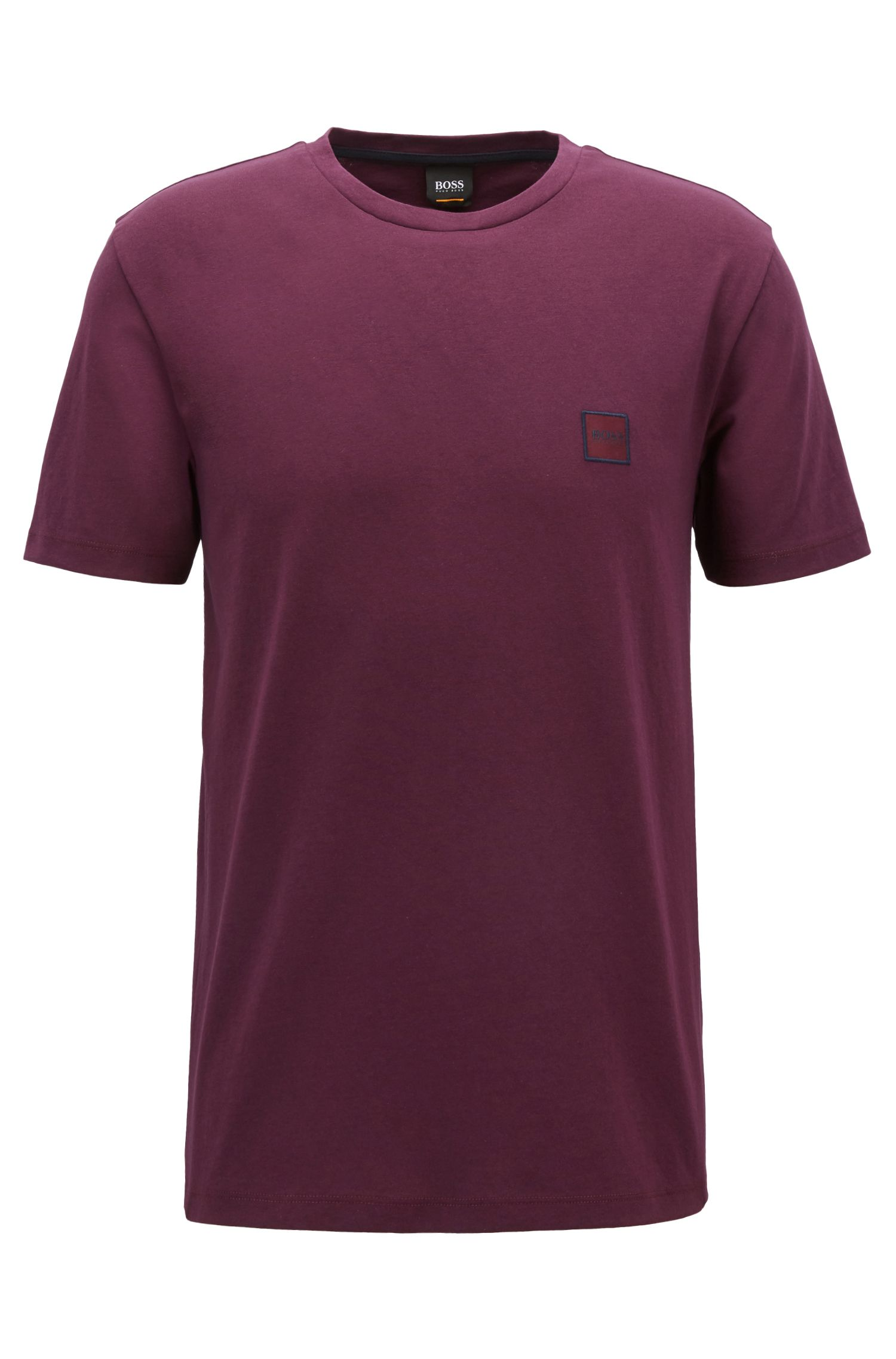 T-shirt a girocollo in jersey di cotone, Luce viola