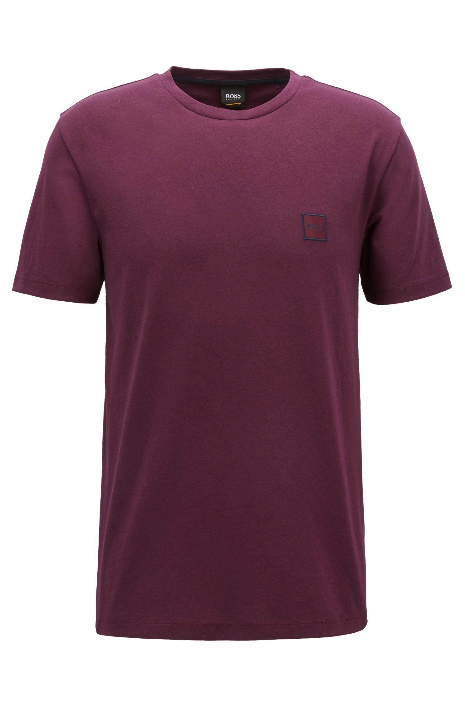 T-shirt à col ras-du-cou en jersey simple de coton, Violet clair