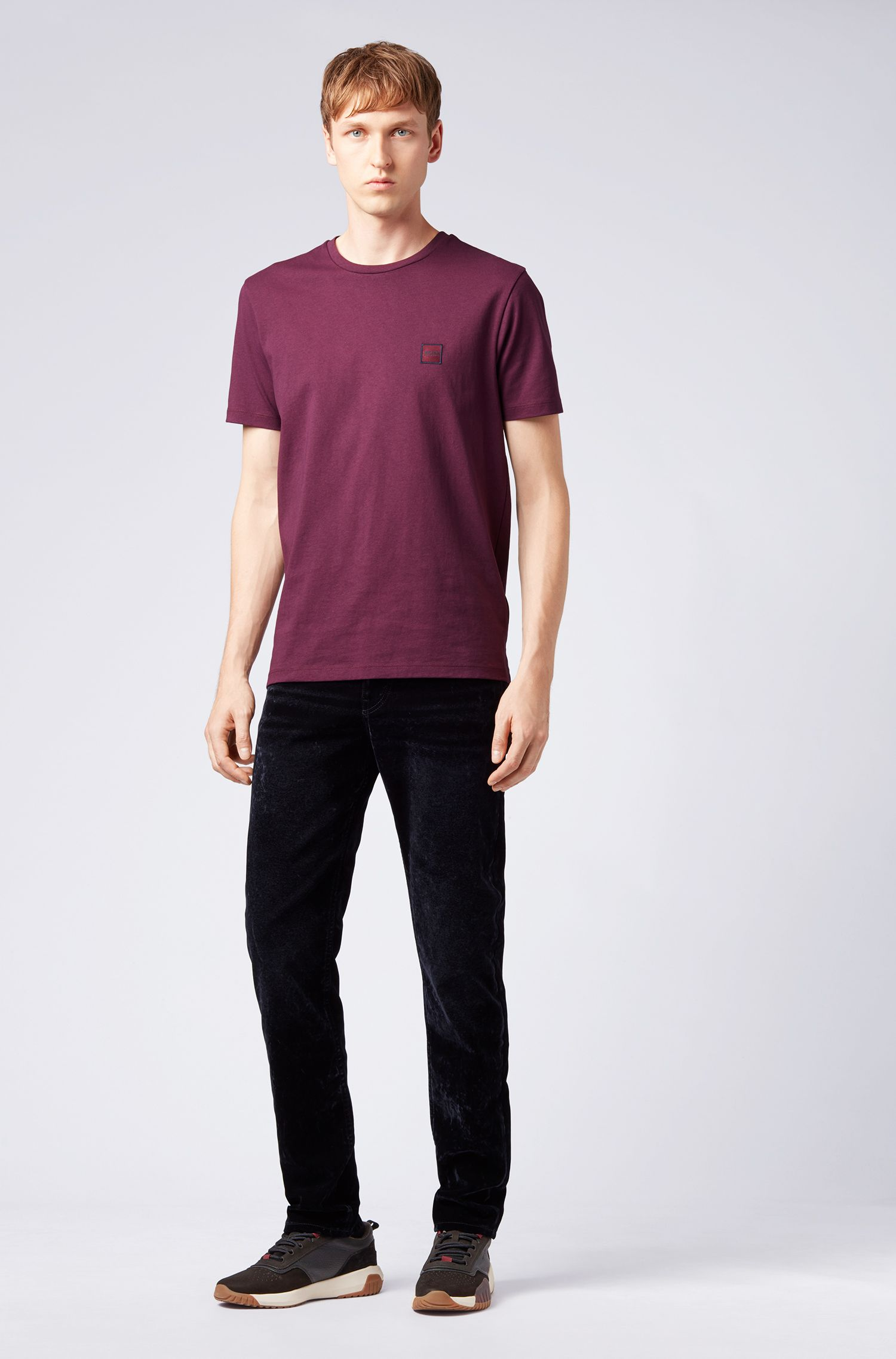 T-Shirt aus Baumwoll-Jersey mit Rundhalsausschnitt, Flieder
