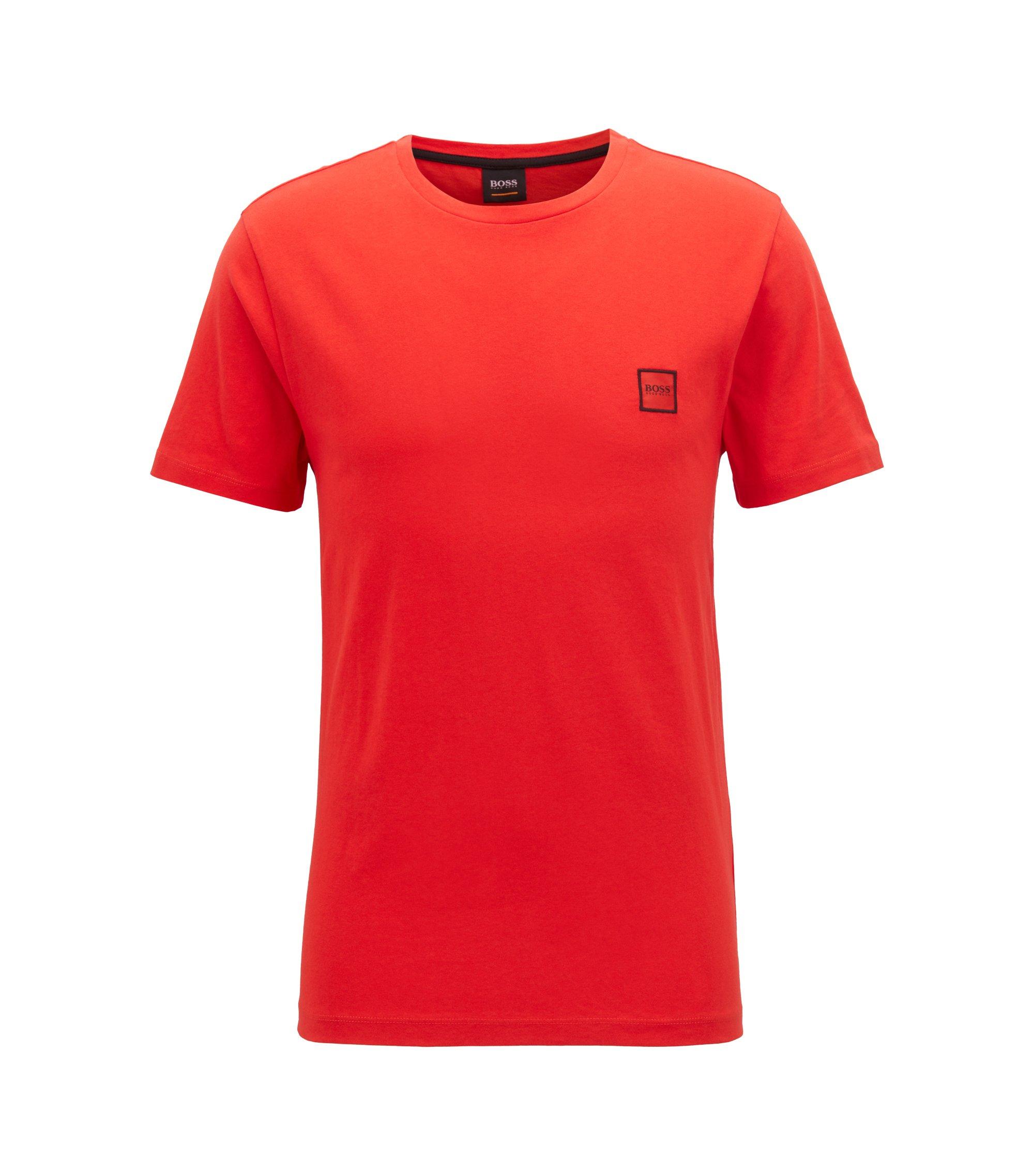 T-shirt van katoenen singlejersey met ronde hals, Rood